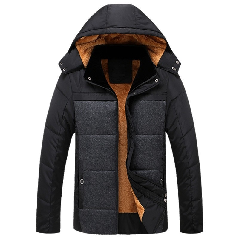 2020 nuevo abrigo de invierno para hombre informal grueso forro polar con capucha prendas de vestir exteriores de negocios entallado Parkas para hombre abrigo de talla grande L-4XL