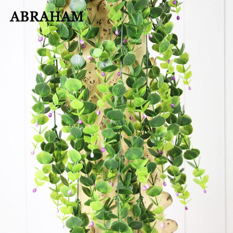 90cm 5 Fork Plastic Plants Wall Hanging Rattan Artificial Vine Green Tree Foliage Fake Eucalyptus Leaf Ivy For Home Garden Decor