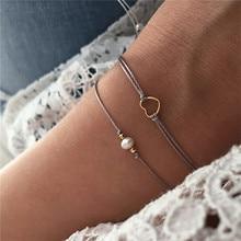 Faux Parel Gouden Kleur Liefde Hart Boho Armbanden Voor Vrouwen Wax Ketting String Armband Set Verstelbare Sieraden
