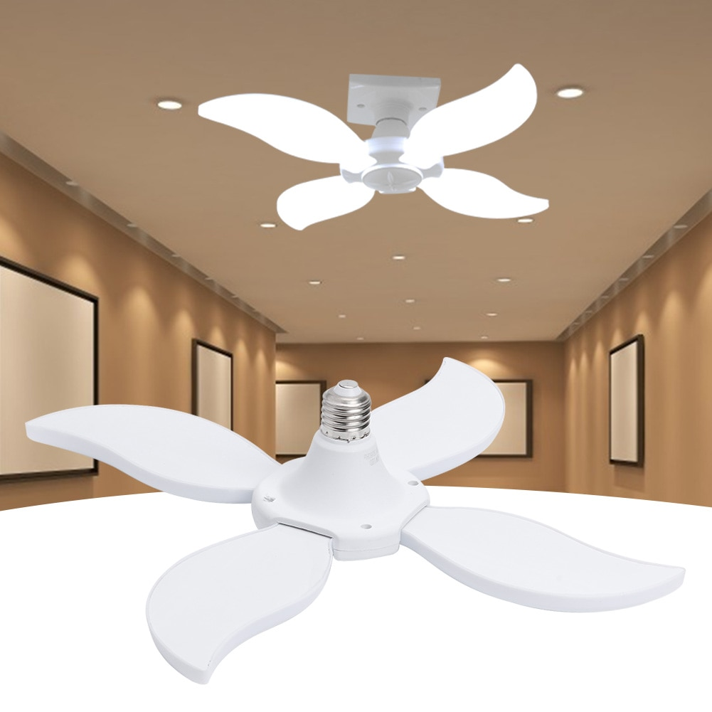 Super Bright 60W E27 LED Fan Garage Light Folding Super Bright High Bay Industrial Lighting Lamp for Workshop Office