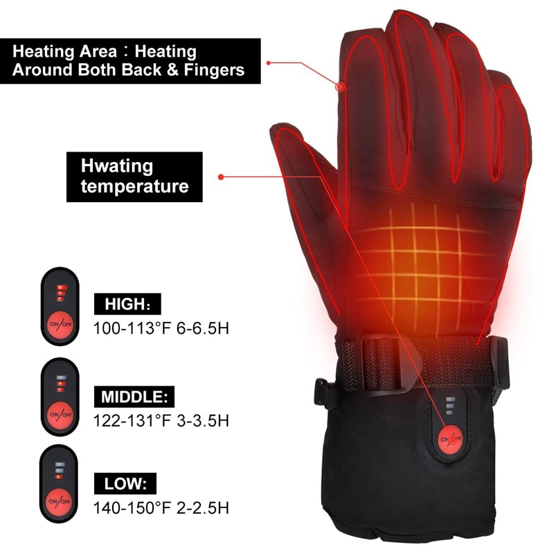 Savior Heating Gloves Motorcycle Gloves Winter Thermal Mittens Men's Skiing Fishing Cycling Touch Screen Windproof Rechargeable