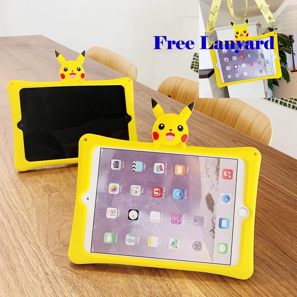 "Kids Shockproof Safe Case for iPad Mini 7.9"" Cartoon Stand Tablet Cover for New iPad 10.2 2019 iPad Air Air 2 iPad 10.5 Pikachu"