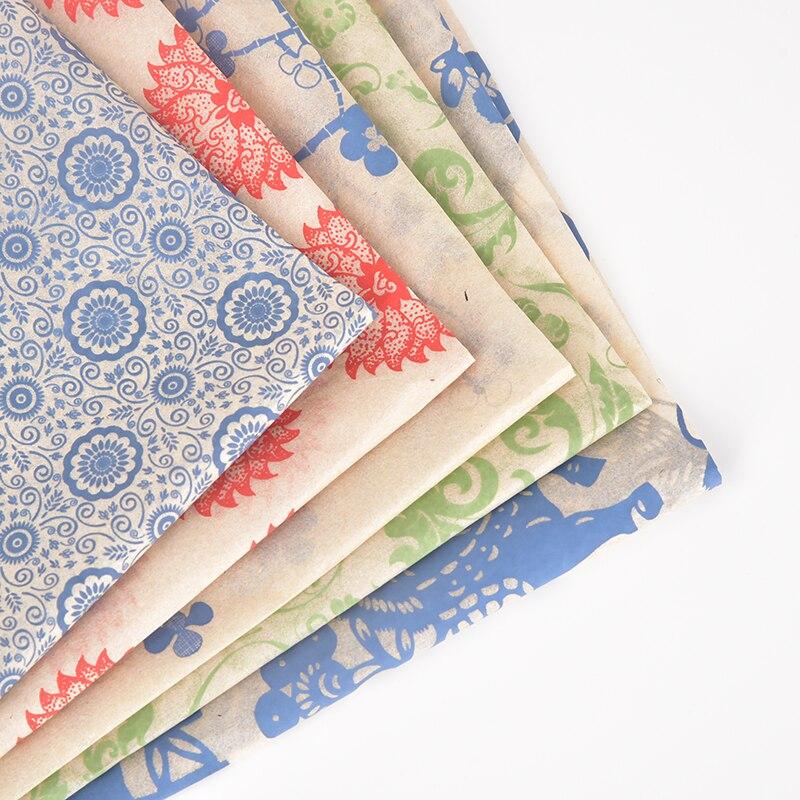 12PCS/set transfer paper Pottery underglazed color figure flower paper blue and white decals auspicious plum bird decal