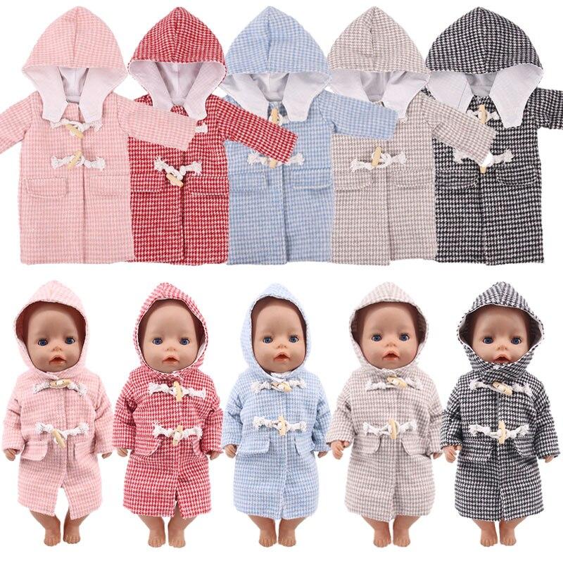 Roupas para bonecas com capuz, 5 cores sólidas, estilo longo, casaco com capuz, adequado para 18 Polegada, americano & 43 cm, logan para bebês boneco do menino brinquedo de natal