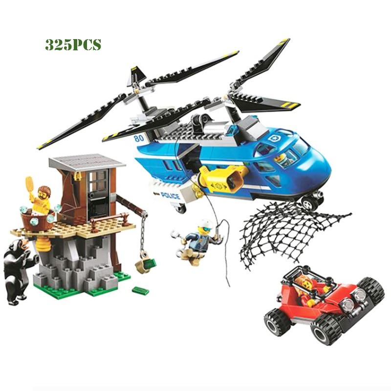 Bela 325pcs City Mountain Arrest Police Helicopter Buggy Model Building Blocks 10863 Assemble Kids Toys Bricks Christmas Gift