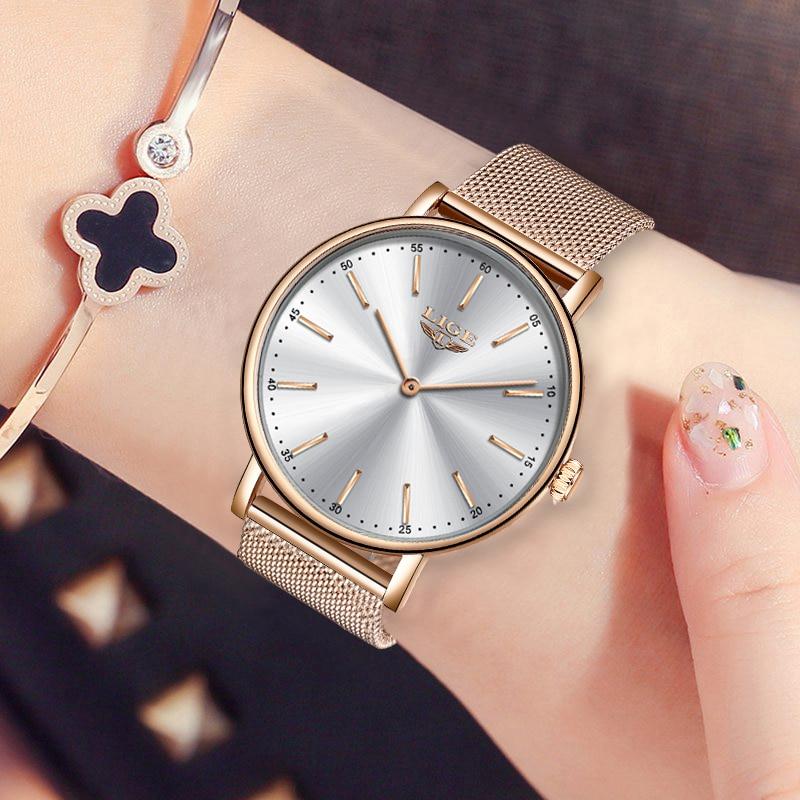Relogio Feminino New LIGE New G0old Watch Ladies Watch Women Simple Mesh Belt Womenes Bracelet Watch Female Waterproof Clock+Box enlarge