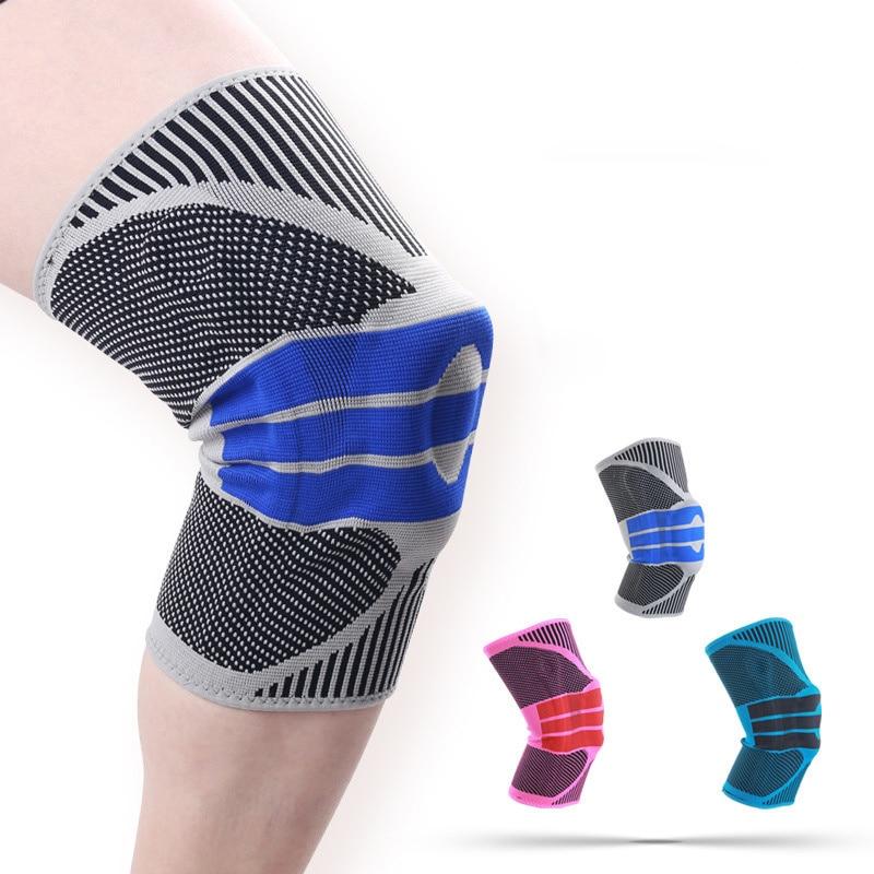 2 PCS Silicone Primavera Knee Brace Patella Strap Completo Apoio Forte Do Menisco Medial Compressão Esporte Joelheiras de Proteção