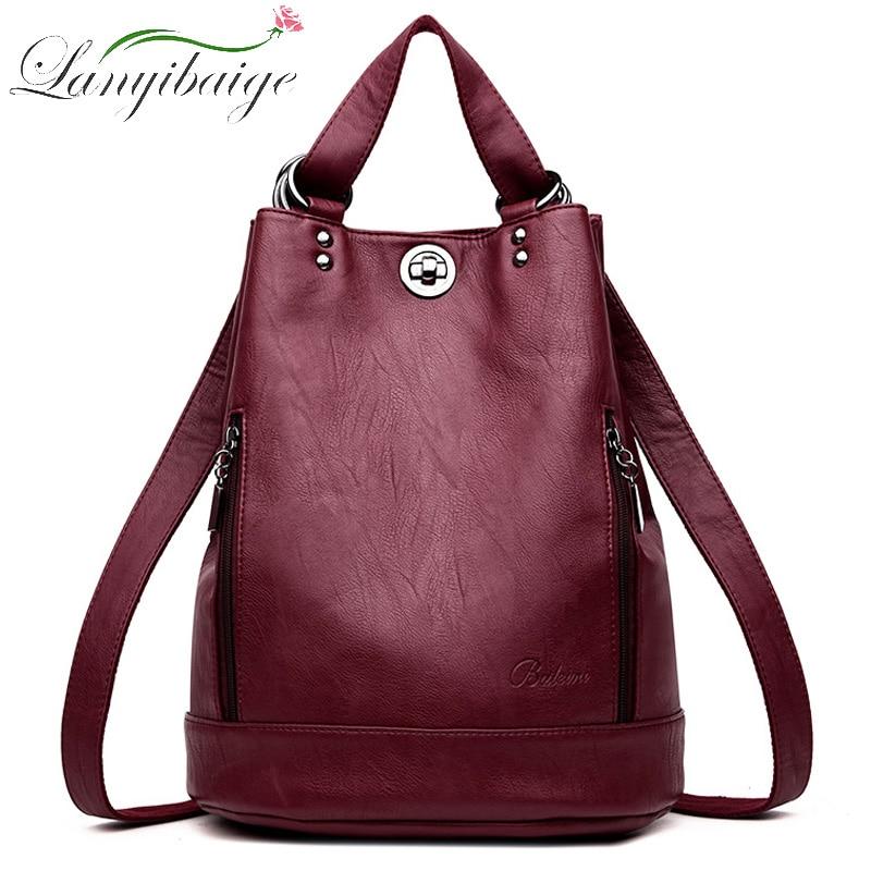 2020 Women Leather Backpacks Multifunction Women Vintage Shoulder Bag Ladies Rucksack large capacity Travel Bag Sac a Dos Preppy