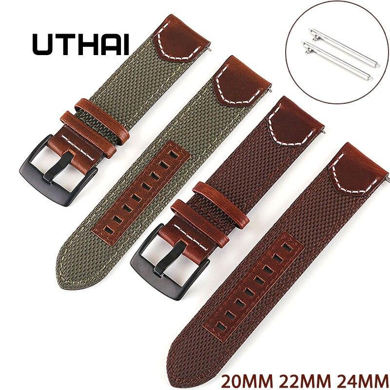UTHAI винтажный нейлоновый кожаный ремешок 20 мм 22 мм 24 мм для Samsung Galaxy 42 мм 46 мм gearS2 S3 Active 2 быстросъемный ремешок для часов Z33