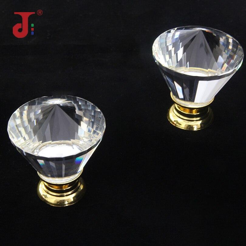 Уникальные высококачественные стеклянные ручки для кухонных дверей с одним отверстием для мебели мебельные рукоятки с кристаллами
