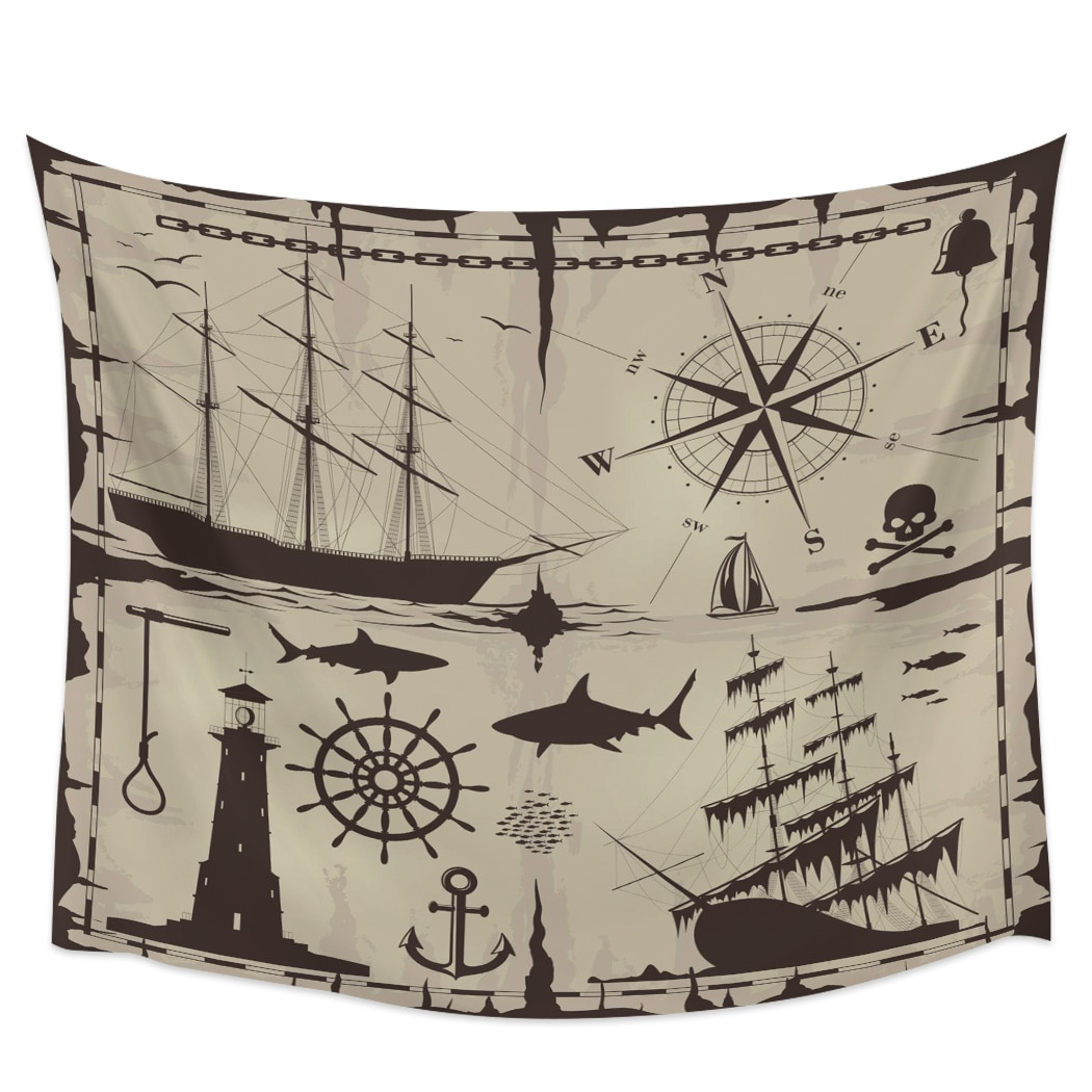 Barco faro brújula tiburón nuevo tapiz pared tapicería de decoración para el hogar pared colgante pared del dormitorio