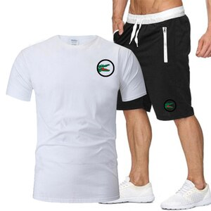 Men's Summer Sportswear Suit Short-Sleeved T-Shirt + Shorts Fashion Brand Casual Suit Sweat-Absorbent Breathable Cotton Clothing