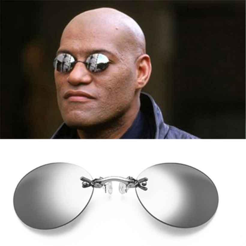 Clip On Nose Glasses Round Rimless Matrix Morpheus Sunglasses Mini Frameless Vintage Men Eyeglasses