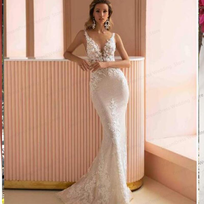 Promo New Mermaid Wedding Dress V-Neck Sexy Sleeveless Backelss Custom Made Robe De Mariage Sweep Trian Romoveable Train Ivory