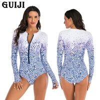 %e3%80%90guiji%e3%80%91ready stock 2021one piece long sleeved surfing suit sunscreen female swimsuit hot spring diving suit sexy swimsuit