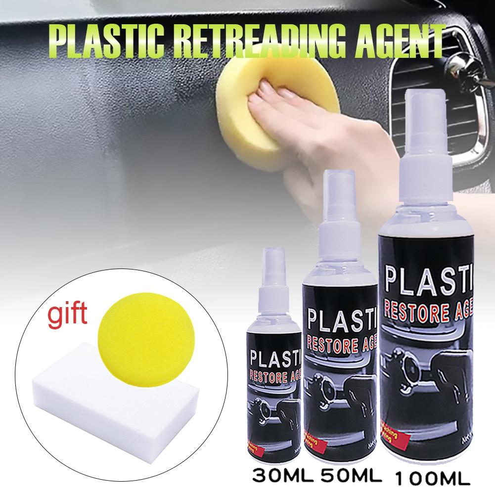 Пластмассовый Реставратор для автомобильного интерьера из пластика, резины, средства для ухода за кожей с губкой, чистящее средство, инстру...