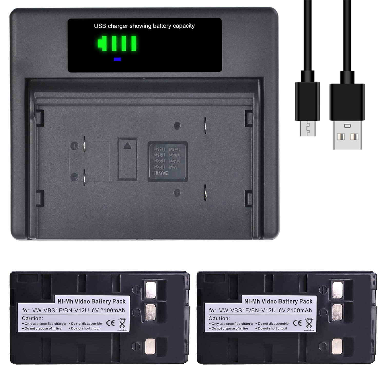 BN-V12U VW-VBS1E BN V12U VW VBS1E Battery with Charger for JVC BN-V10U, BN-V11U, BN-V12U, BN-V14U, BN V15 V18U, BN-V22U, BN-V24U