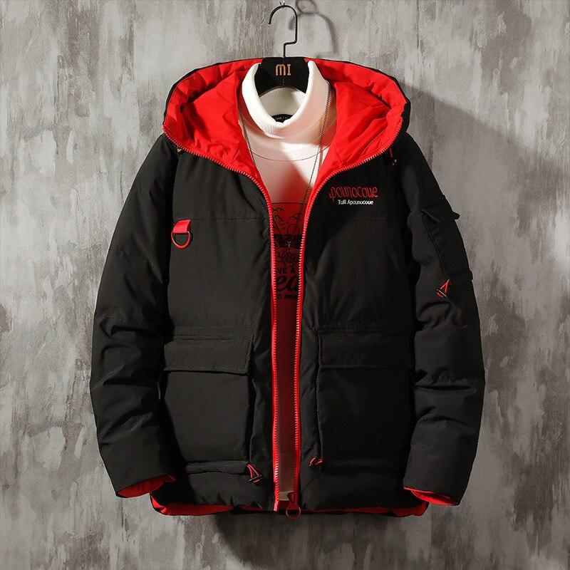 Зимняя теплая куртка, трендовая хлопковая куртка с вышивкой на английском языке, Мужская Толстая хлопковая куртка с капюшоном, хлопковая ку...