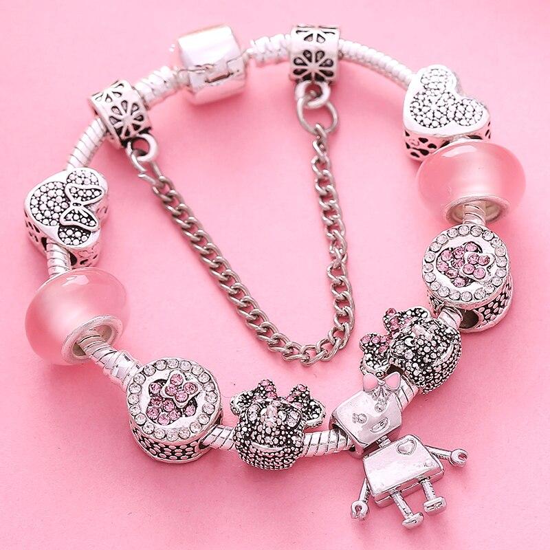 Togory pequena bella charme pulseiras para as mulheres com grânulos dos desenhos animados pulseiras finas pulseiras diy jóias de cristal pulseras venda quente