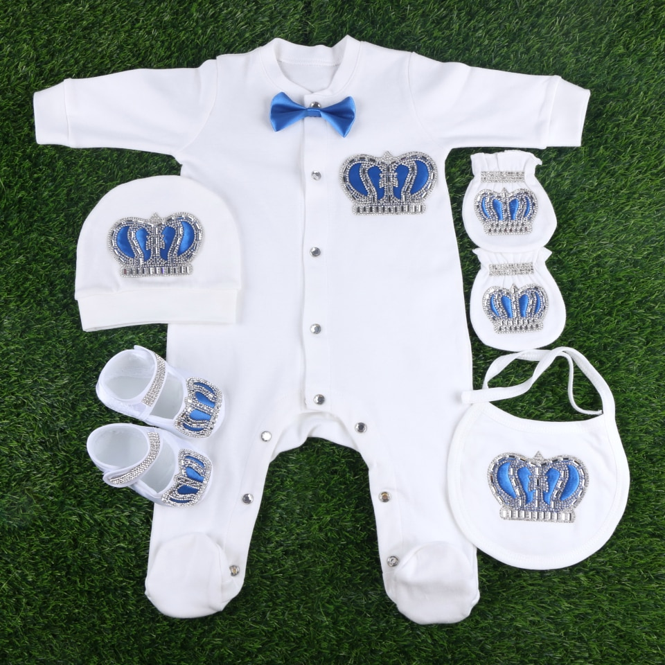 High Quality Brand crown design with bowtie handmade infant footies clothes set baby girl boy newborn rompers bodysuits jumpsuit