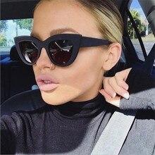 2020 New Cat Eye Women Sunglasses Tinted Color Lens Men Vintage Shaped Sun Glasses Female Eyewear Bl