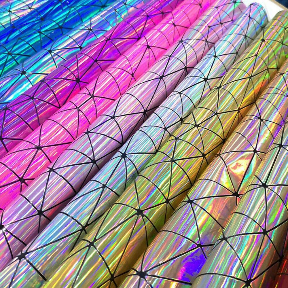 Лазерная голографическая Геометрическая Переливающаяся PU искусственная кожа ткань сумка ремесло DIY Ювелирные изделия Одежда швейный материал