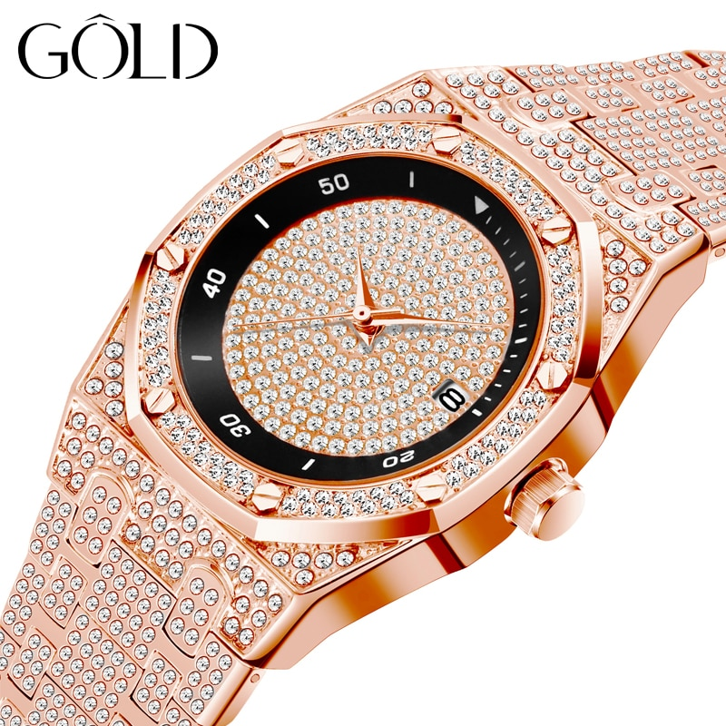 Brand Fashion Luxury Men's Watch Rose Gold Full Diamond Couple Quartz Watch High Quality Waterproof