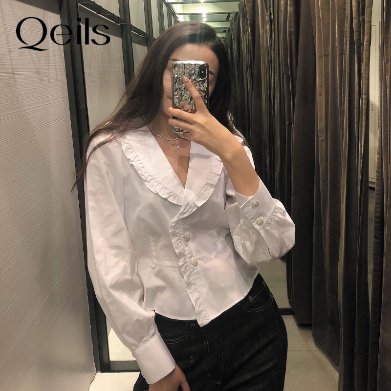 Qeils Women Sweet Fashion Solid With Button Loose Blouses Ruffles V Neck Casual Vintage Long Sleeve