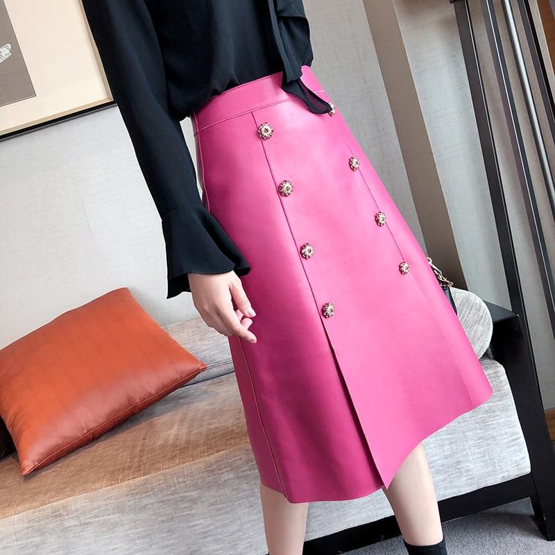 Faldas acampanadas de piel auténtica para mujer, falda larga de cintura alta para mujer, falda 100% Real, piel de oveja Natural, negra, rosa, faldas femeninas de talla grande