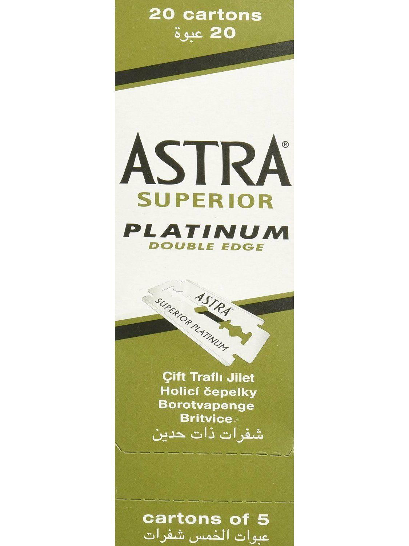 100 piece 100 Astra Superior Razor Blade Platinum Double Edge Safety Shaving Razor Blades
