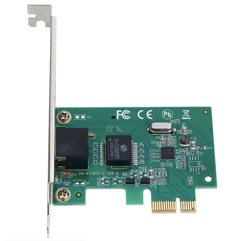 Tarjeta de red PCIe, interfaz totalmente blindada chapada en oro, tarjeta de red Gigabit DIEWU PCI-E RTL8111E con cable, escritorio de hogar 1000M