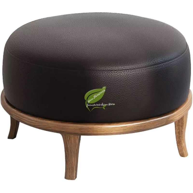 Casa de moda sofá redondo taburete de mesita para café de sala de estar montículo de madera creativa taburete silla niño taburete banco