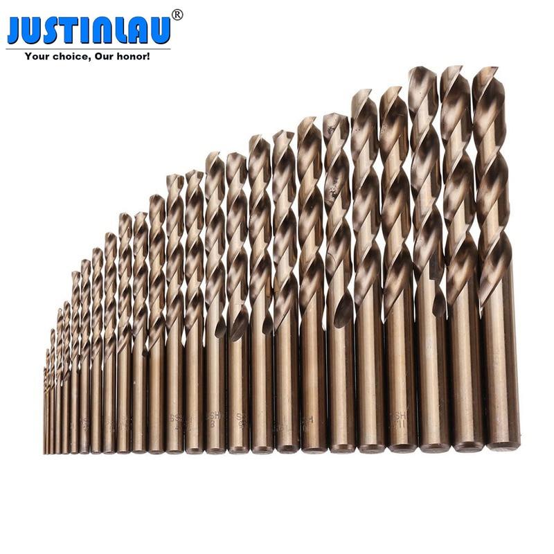 JUSTINLAU 25pcs Cobalt High Speed Steel Twist Drill Hole 1.0mm-13mm M35 Stainless Steel Set The Whole Ground Metal Reamer Tool