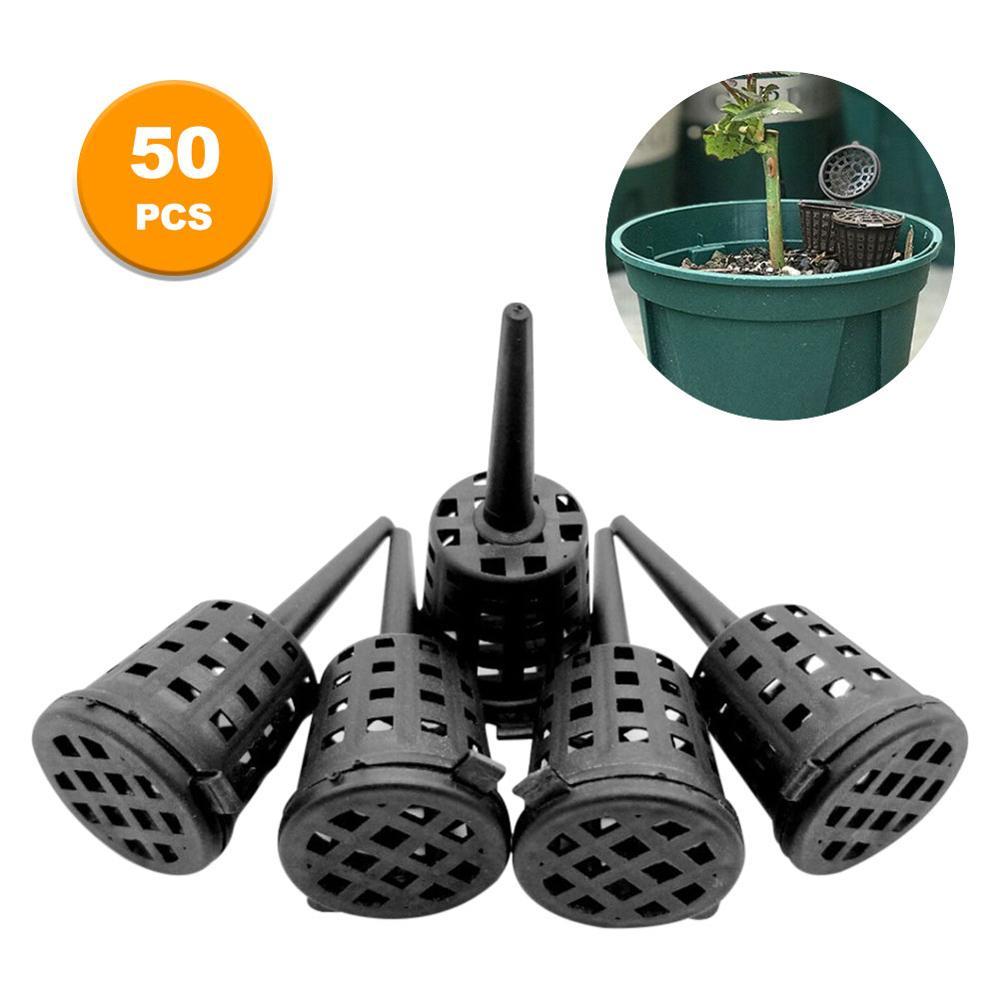 Caja de fertilizante, bonsái, cubierta de fertilizante, caja de cesta, caja cúpula, planta de plástico, macetas para vivero portátiles, 50 Uds