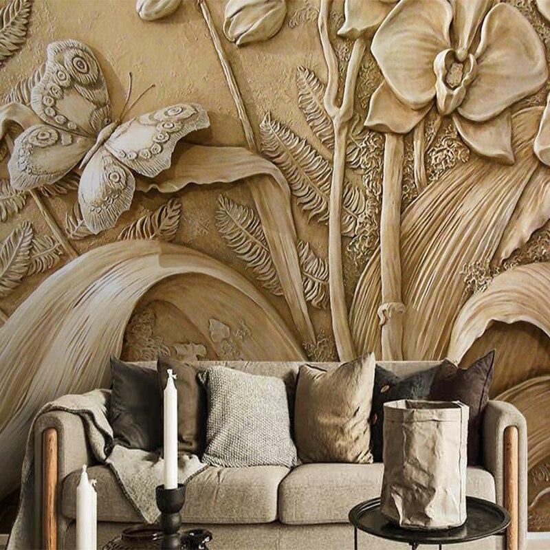 Пользовательские обои росписи имитация скульптуры цветок украшение дома