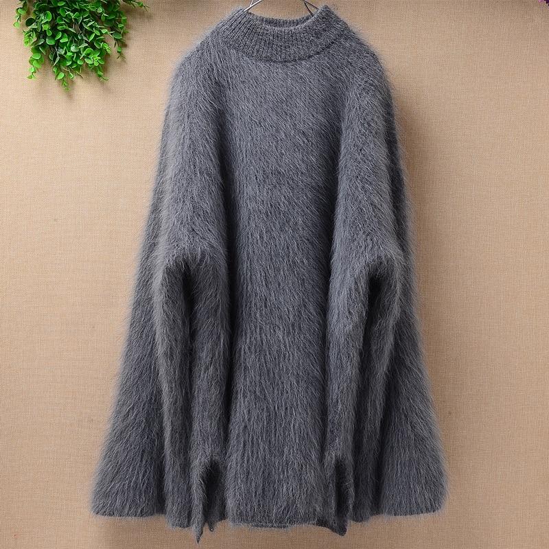 ثقيلة سميكة الإناث النساء الشتاء موضة فضفاضة أفخم المنك الكشمير الأنجورا الأرنب الفراء طويلة مضيئة الأكمام البلوز سترة معطف