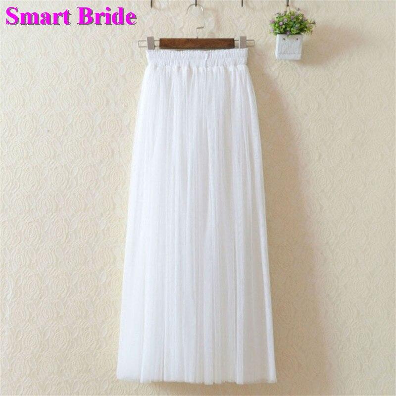 Tulle Maxi Faldas Mujer largo Semi-Formal vestidos de fiesta plisado playa boda falda A-Line Prom Maxi vestido 2020 para los jóvenes