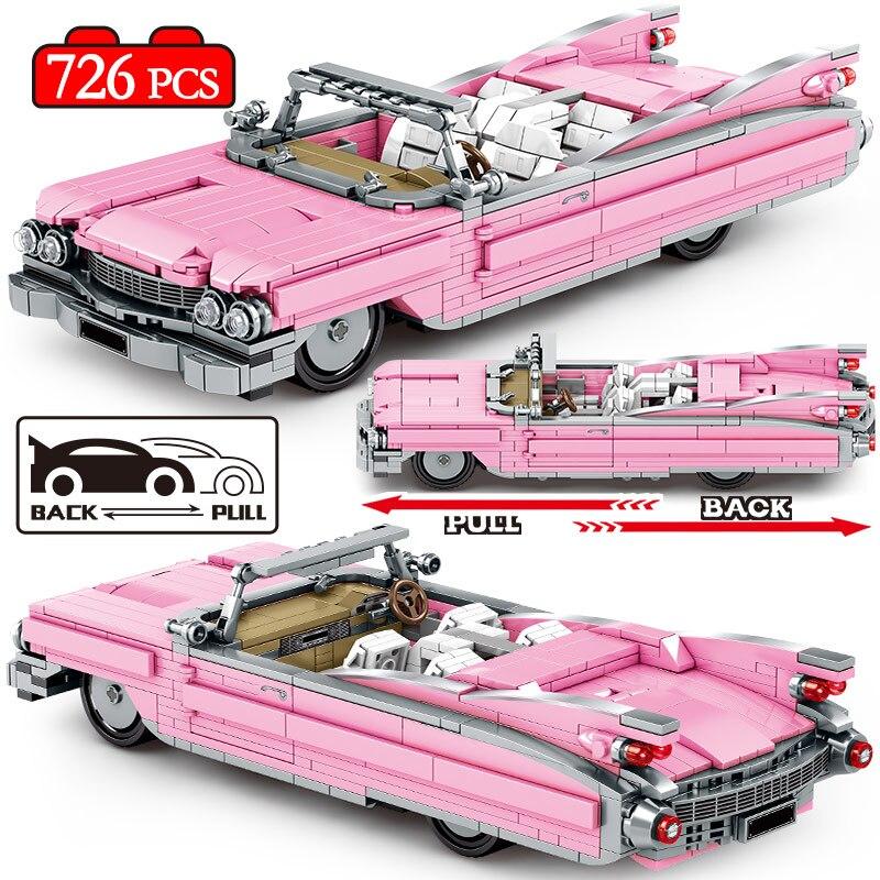 City Mechanical Pull Back Classic Convertible Vehicle Building Blocks Racing Sports Car Creator Bricks Toys For boys