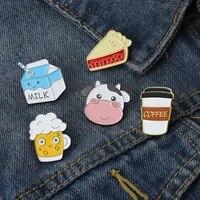 fashionable funny cow head brooch creative coffee cup shape brooch milk coffee bread sandwich brooch backpack badge as gifts
