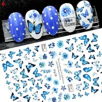 3d laser nail stickers gradient colorful butterfly rose nail sliders 3d flower nail art decoration manicure water stickers nails