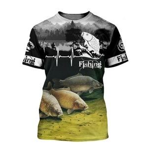 2021 Summer New Men's Women's Carp Fishing 3D Printing T-Shirt Summer Fashion Short Sleeve Harajuku T-shirt Unisex Streetwear