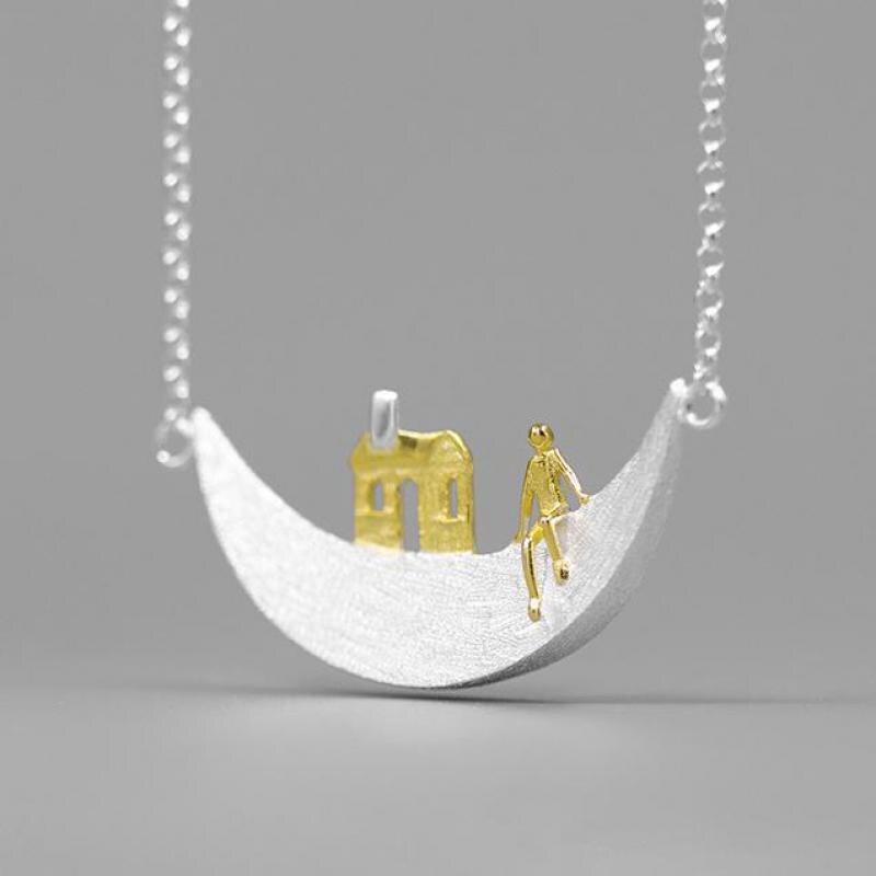 Volta Van قلادة القلائد 925 فضة 2021 جديد غرامة مجوهرات أنيقة القمر لطيف التصميم الأصلي موجزة النساء القلائد