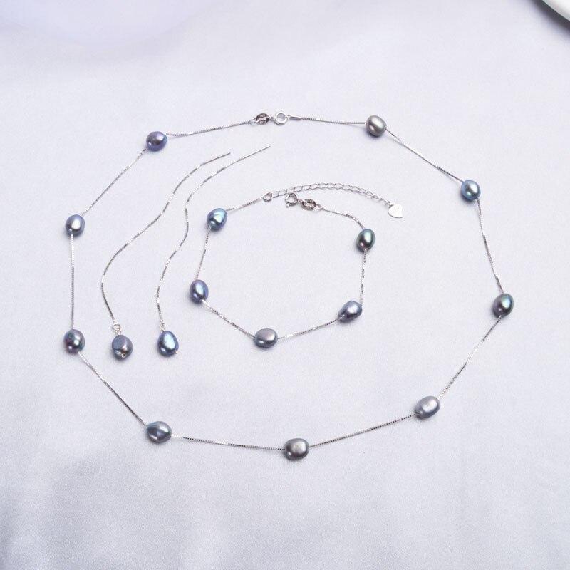 L-38 Echt 925 Sterling Silber Natürliche Süßwasser perle Schmuck Sets Halskette Armband Ohrringe für frauen Mode 2020 Neue
