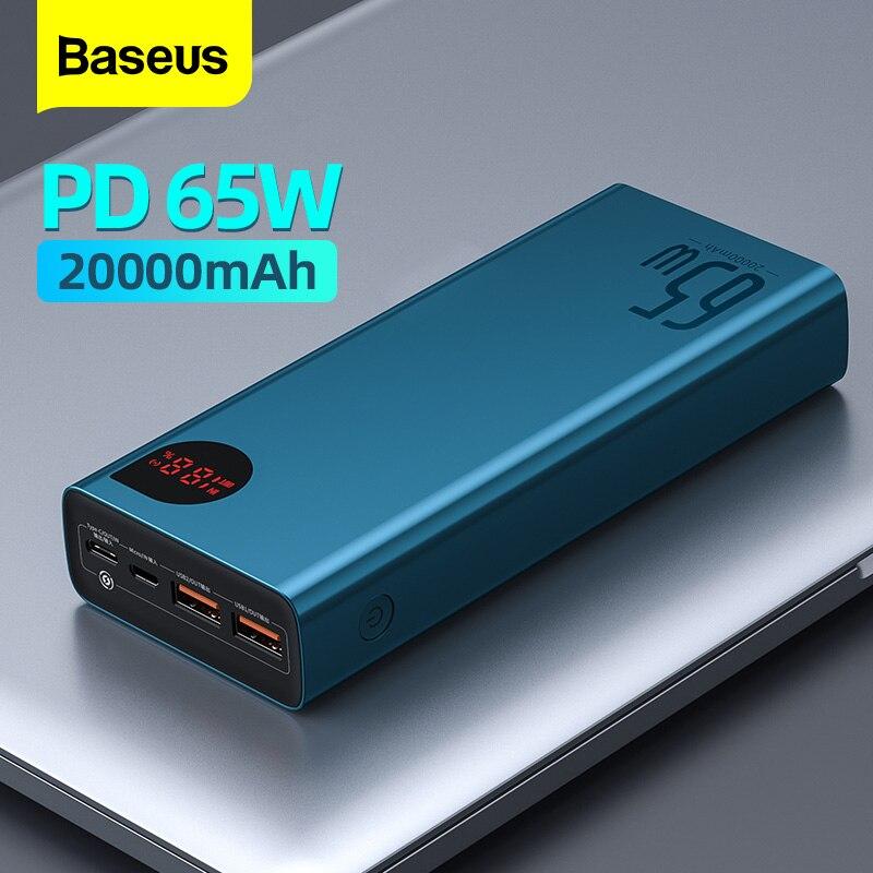 Baseus 65 واط قوة البنك 20000 مللي أمبير المحمولة شحن Powerbank الهاتف المحمول بطارية خارجية PD QC 3.0 شاحن 22.5 واط Poverbank 20000