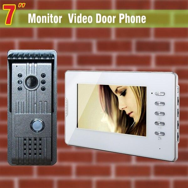 7 дюймов видео дверной звонок Домофон Системы ИК Ночное видение сплав Камера видео-дверной звонок видео домофон комплект