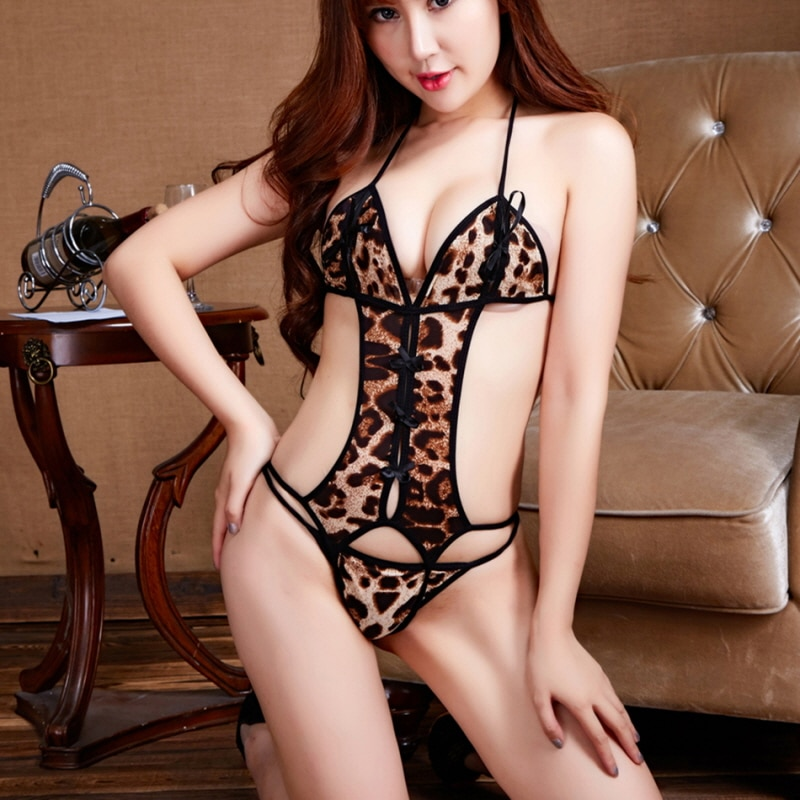 Erotic Leopard Teddy Sexy lingerie Women Body-con Lace Hollow Out Bodysuits Sexy transparent Sexy Te