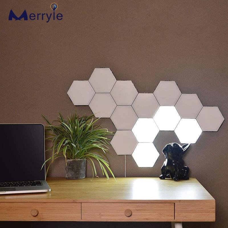 Quantum Hexagon LED Wall LampsTouch Sensor Smart Modern Home Decorative Lights Bedroom Living Room DIY Night Lamp AC110 220V