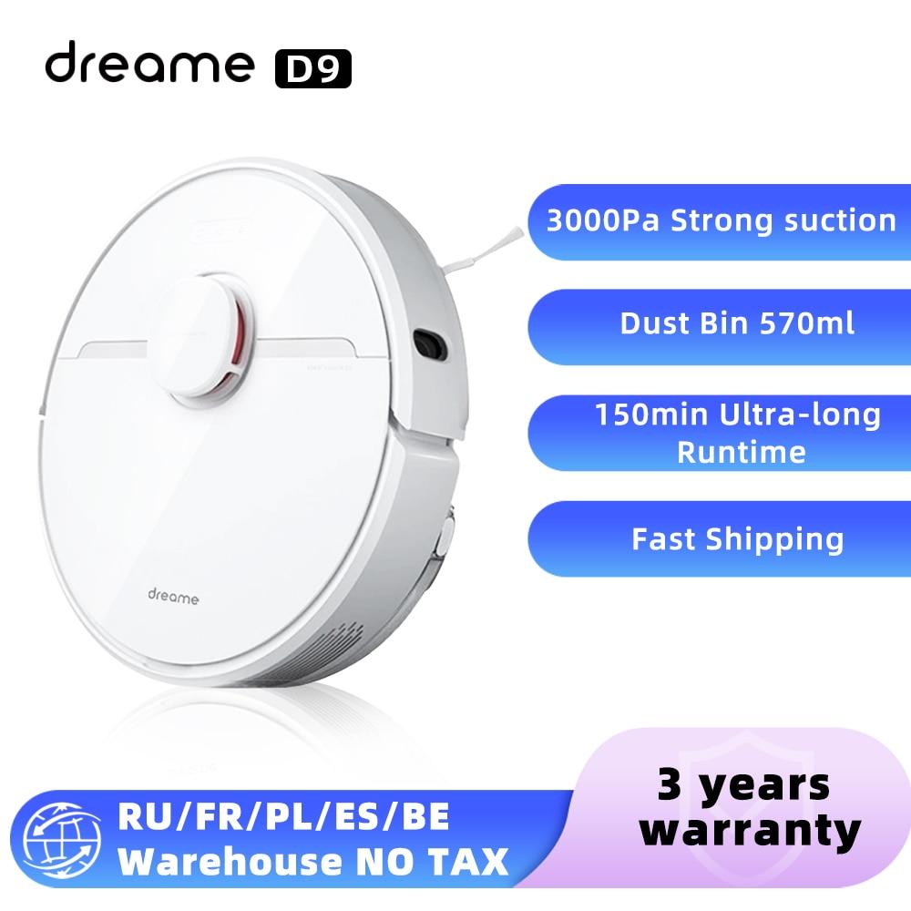 2021 dreame d9 robô aspirador de pó para casa varrendo lavar esfregar 3000pa ciclone sucção poeira mijia app wi fi inteligente planejado