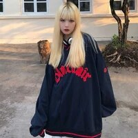 street sweatshirt female 2021 autumn winter tide student loose korean version plush thickened pullover female goth