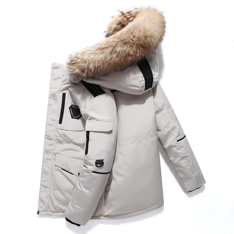 Winter  down jacket White Duck Down  Long Real fur Collar Thick Parkas Jacket Coat Men Outwear Hooded Pockets Waterproof Jackets